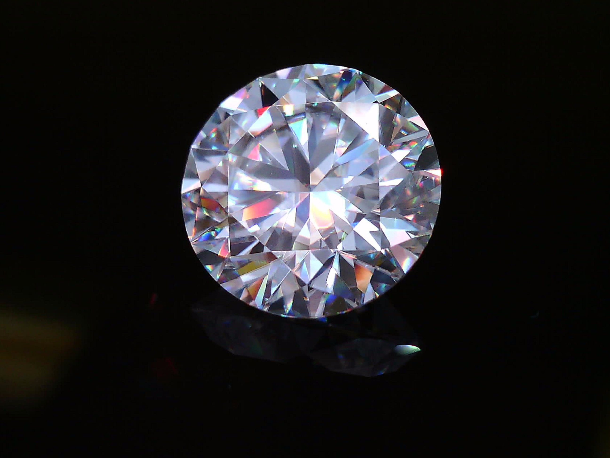 Moissanite on Black Background